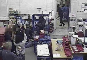Undated Kent Police handout photo of CCTV footage of the Britain's biggest cash robbery taking place at the Securitas depot in Tonbridge, Kent, in February 2006. Picture shows some of the men involved in the raid gaining access to the depot and holding staff at gunpoint. PRESS ASSOCIATION Photo. Issue date: Monday January 28, 2008. Five men were found guilty today of a series of charges in connection with Britain's biggest cash robbery. They were convicted by an Old Bailey jury over the £53 million heist at the Securitas depot in Tonbridge, Kent, in February 2006. The robbery gang kidnapped Securitas manager Colin Dixon, his wife Lynn, and their young child at gunpoint to gain entry to the building. CCTV seen in court showed them trussing up 14 employees with cable ties as they loaded cash into a 7.5-ton Renault lorry during the 66-minute early morning raid. See PA story COURTS Robbery. Photo credit should read: Kent Police/PA Wire