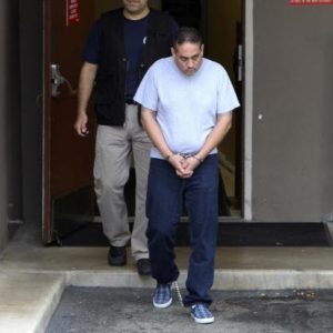 "Alleged member of the gang Los Aztecas, Jesus Ernesto Chavez Castillo aka ""El Camello"", is brought in the John Wood Federal Courthouse in handcuffs and leg irons on Friday, Sept. 3, 2010. Chavez Castillo is accused of being part in the murder of US Consulate staffers killed in Ciudad Juarez.  Kin Man Hui/kmhui@express-news.net"