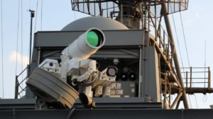A laser weapon system on the USS Ponce, which has been deployed to the Persian Gulf. The Navy released a video showing the system taking target practice.